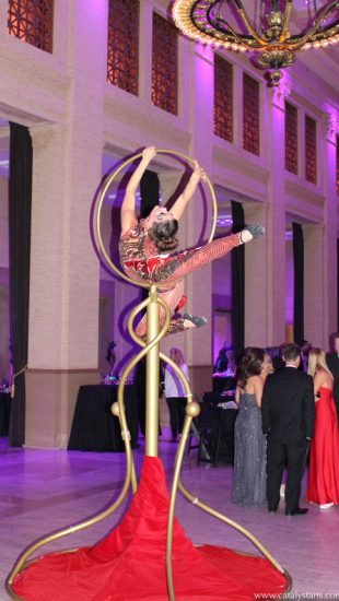 Gold Freestanding Lolipop Lyra & Aerialist by Catalyst Arts Entertainment in California-