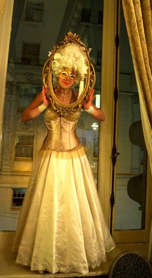 Golden Venetian Masquerade Antoinette character by Catalyst Arts Entertainment