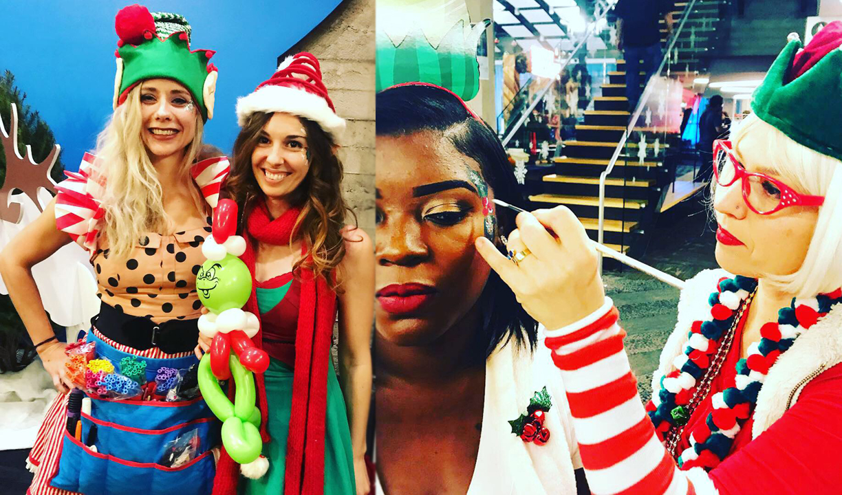 Christmas elves entertainers- face paint & balloon twisters by Catalyst Arts MagiKidz