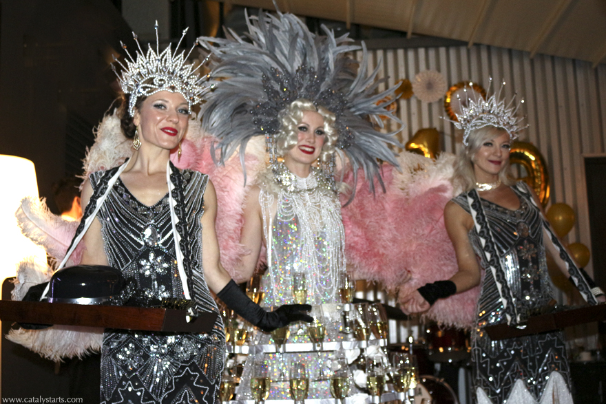 Flapper Showgirls & 20's Gatsby Champagne Skirt Hostess by Catalyst Arts Entertainment