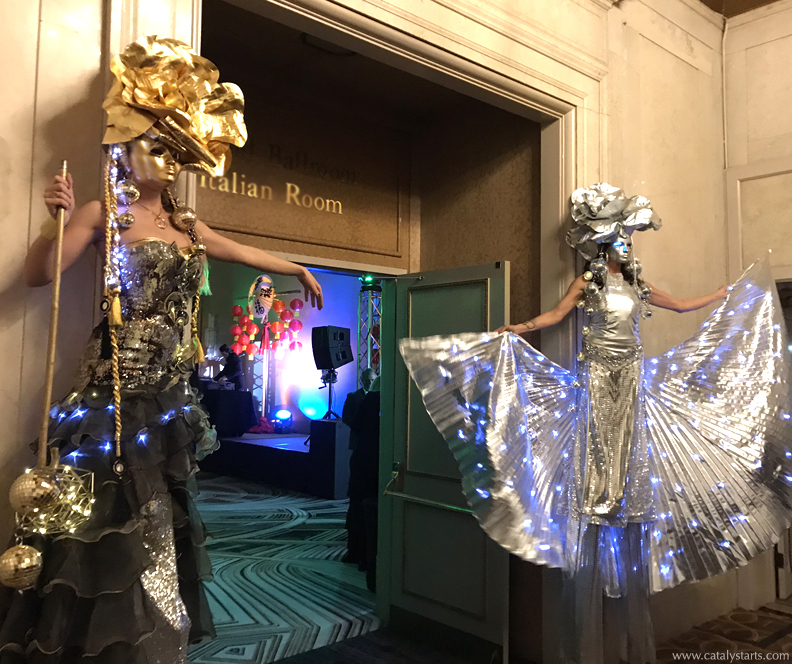 Silver Gold Rose Queen Stilt Walkers by Catalyst Arts SF