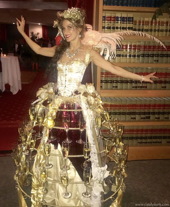 Gold Maroon Champagne Skirt by Catalyst Arts Entertainment at City Club San Francisco