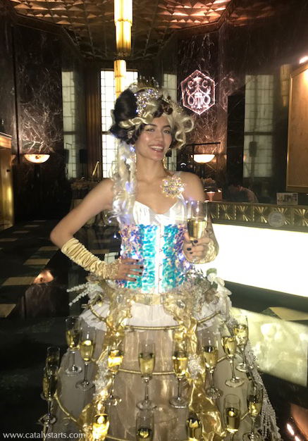 Sparkly Gold Champagne Skirt hostess- costume/booking by Catalyst Arts Entertainment