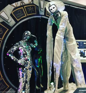 Futuristic Alien Stilt Walker & Mirror Suit dancer by Catalyst Arts Entertainment at CACM convention