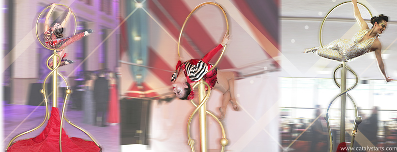 Gold Lollipop Lyra freestanding aerialist by Catalyst Arts Entertainment in California