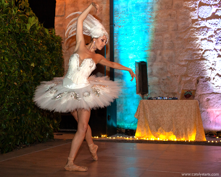 White Swan Ballerina at Wedding by Catalyst Arts Entertainment in California