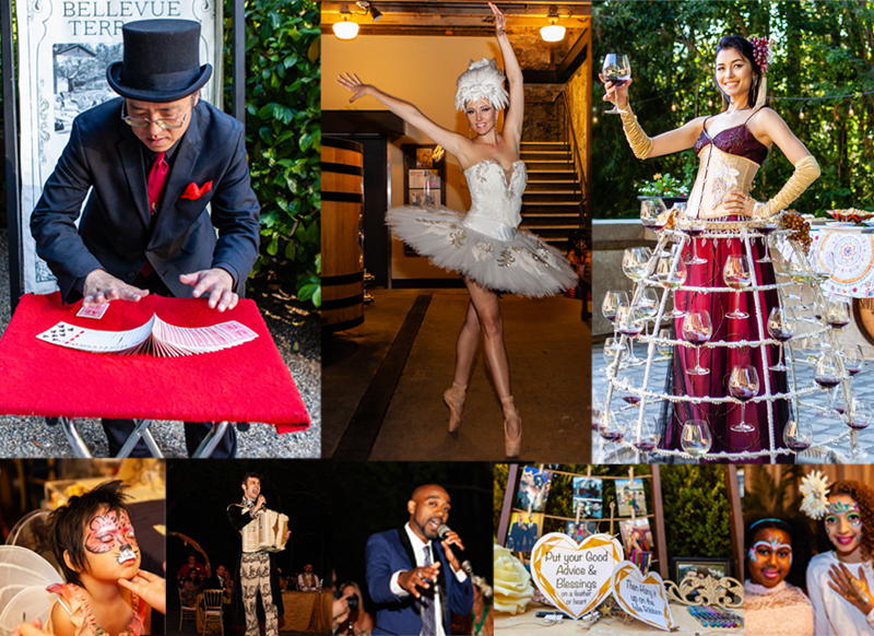 Eclectic wine country wedding featuring interactive & entertainment from Catalyst Arts California