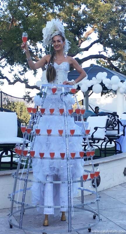 Deluxe Stilt Champagne Skirt by Catalyst Arts Entertainment in SF California