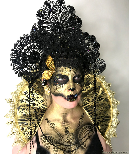 Gothic Lace Skeleton face paint with headdress & collar- by Audette Sophia of Catalyst Arts
