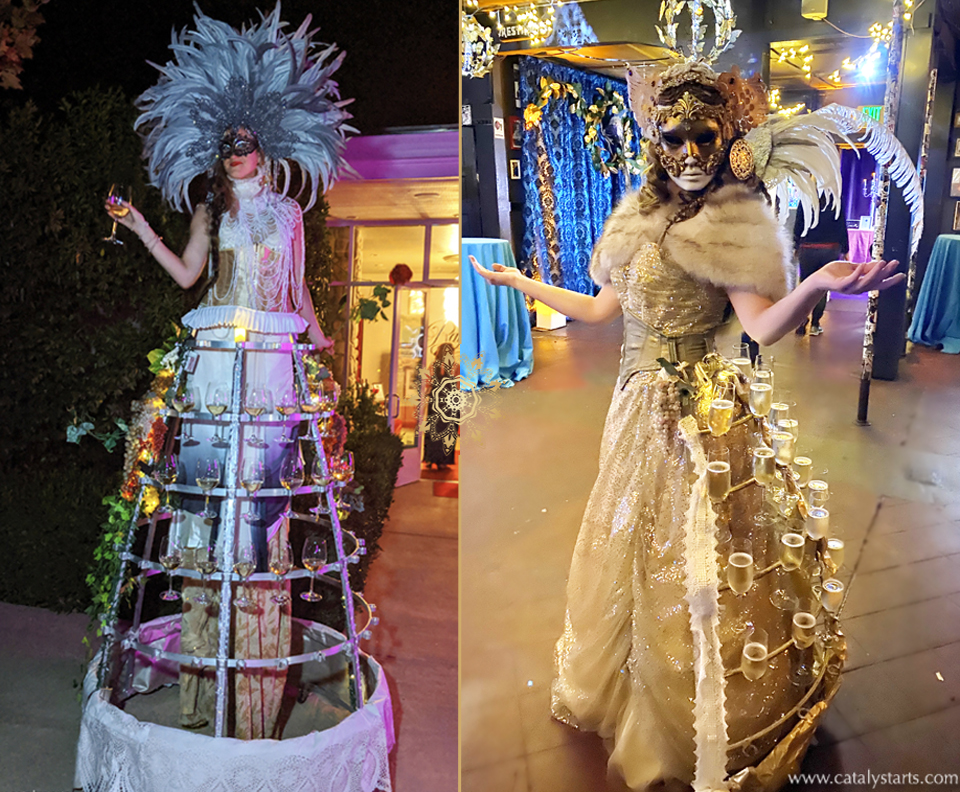 Deluxe Masquerade Champagne Skirt Hostesses by Catalyst Arts + Deluxe Drinks Dress & Bubbly Bustle