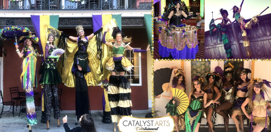 Mardi Gras Stilt walkers & entertainers by Catalyst Arts