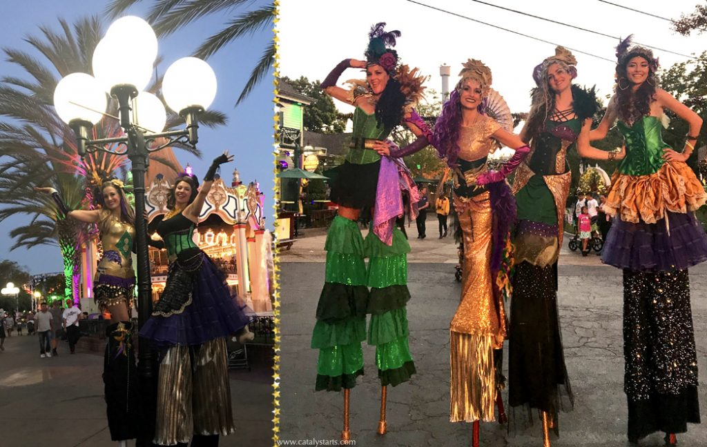 Mardi Gras Stilt walkers & entertainers by Catalyst Arts