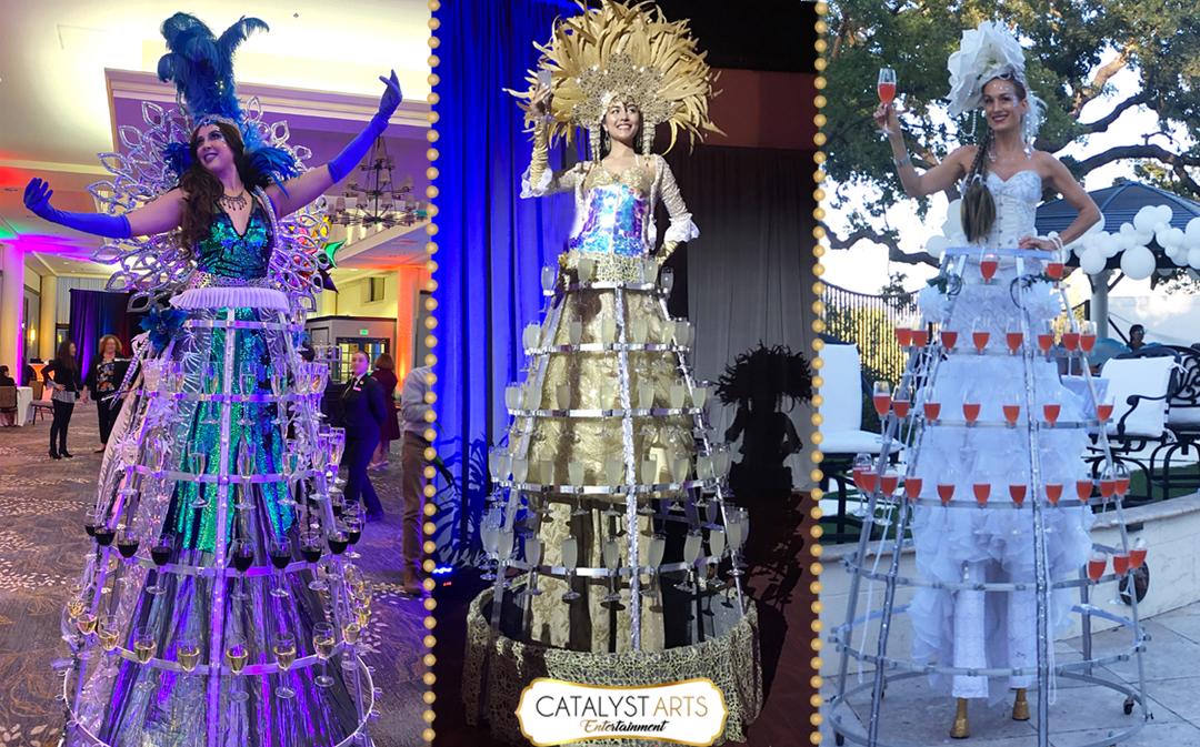 Deluxe Drinks Dress- Stilt Champagne Skirt by Catalyst Arts