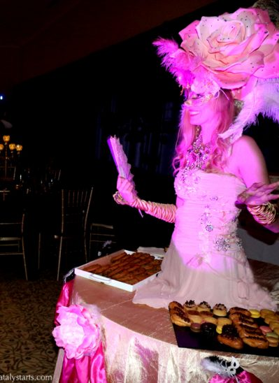 Pink Rose Masquerade Living Dessert Table
