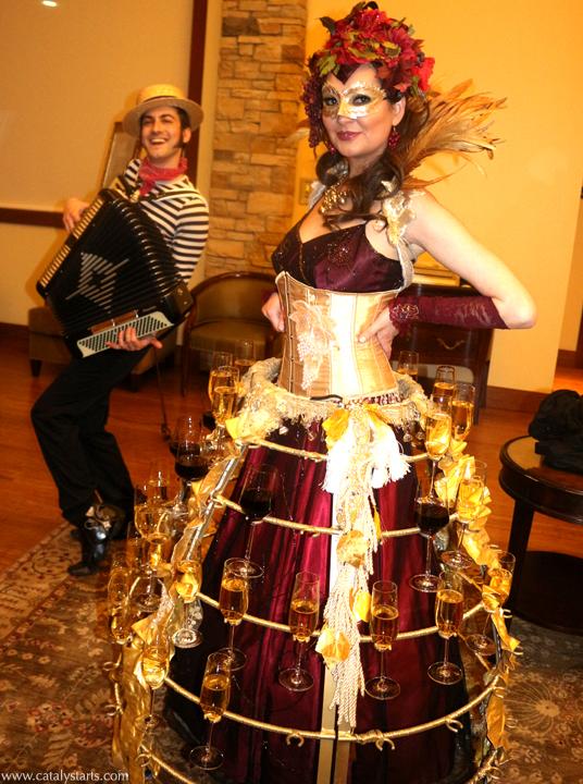 Venetian Wine Skirt Hostess & Gondolier Accordion Player