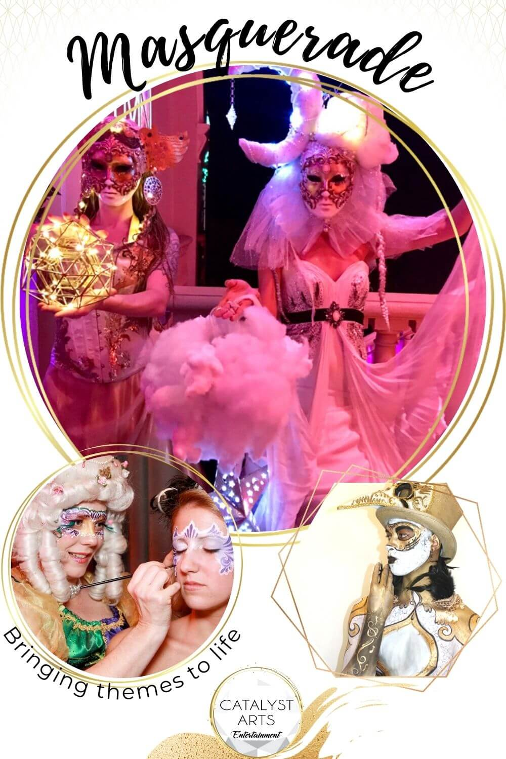 Masquerade ball themed entertainment by Catalyst Arts
