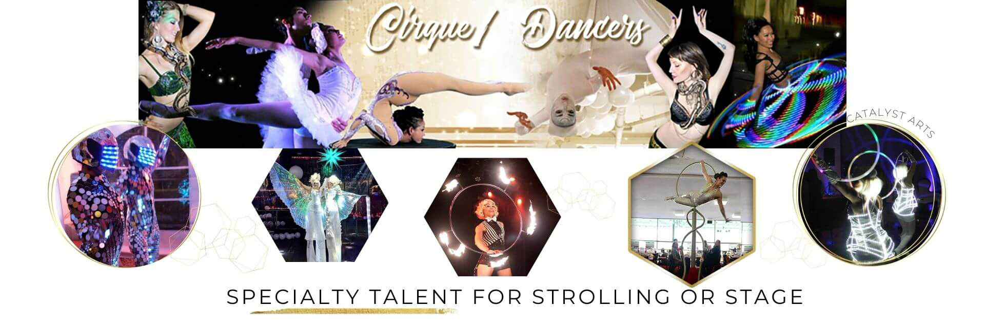 Cirque & Dance Specialty Talent booking for parties by Catalyst Arts