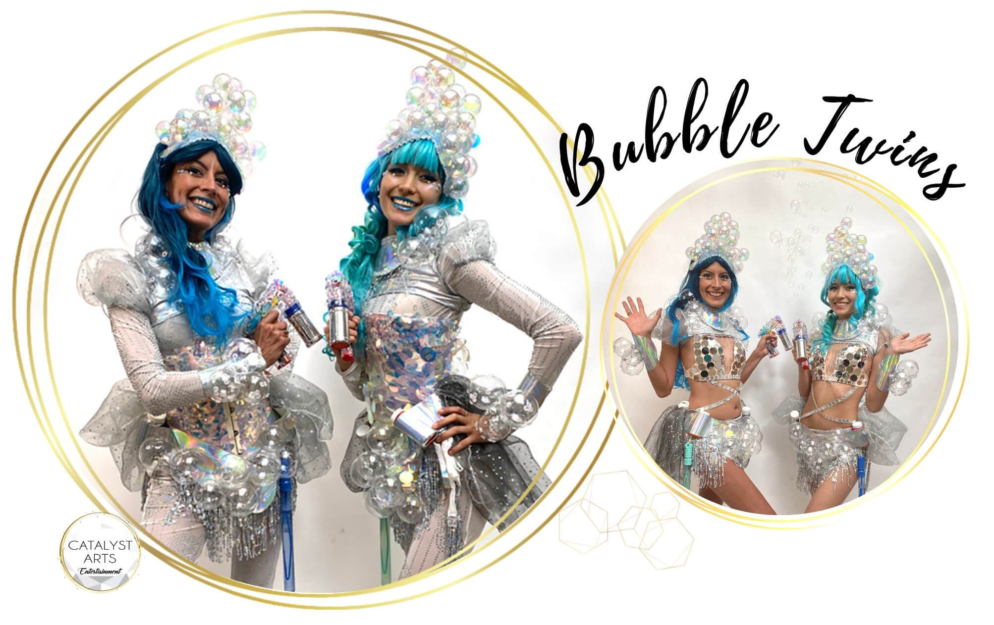 Bubble Twins- bubble costumed performers by Catalyst Arts California