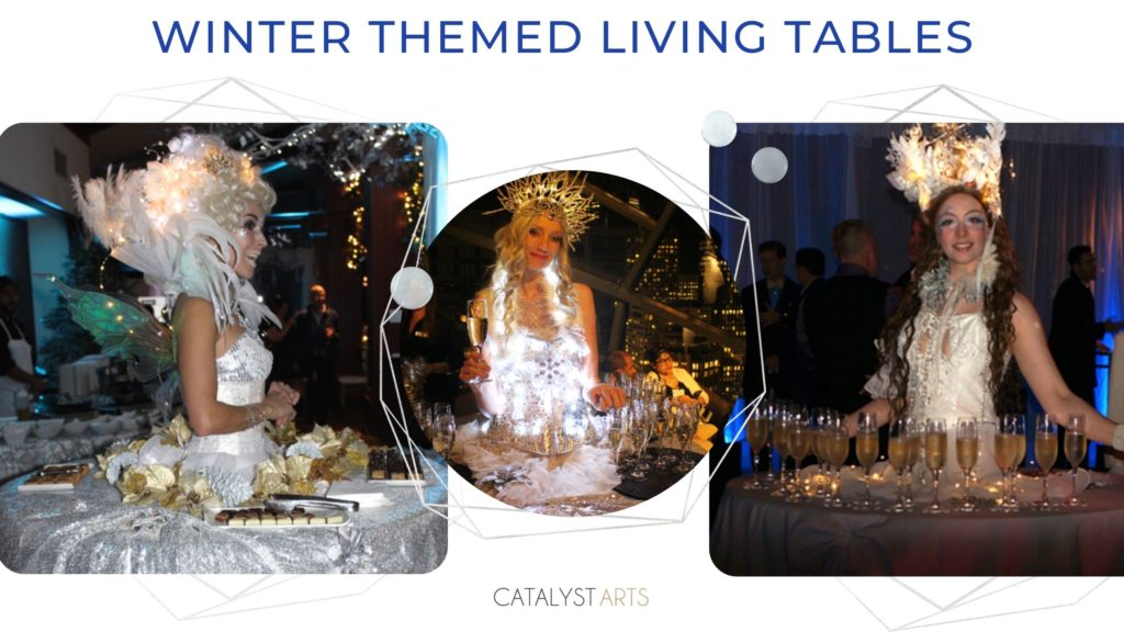 Winter Wonderland Holiday Party Living Tables by Catalyst Arts