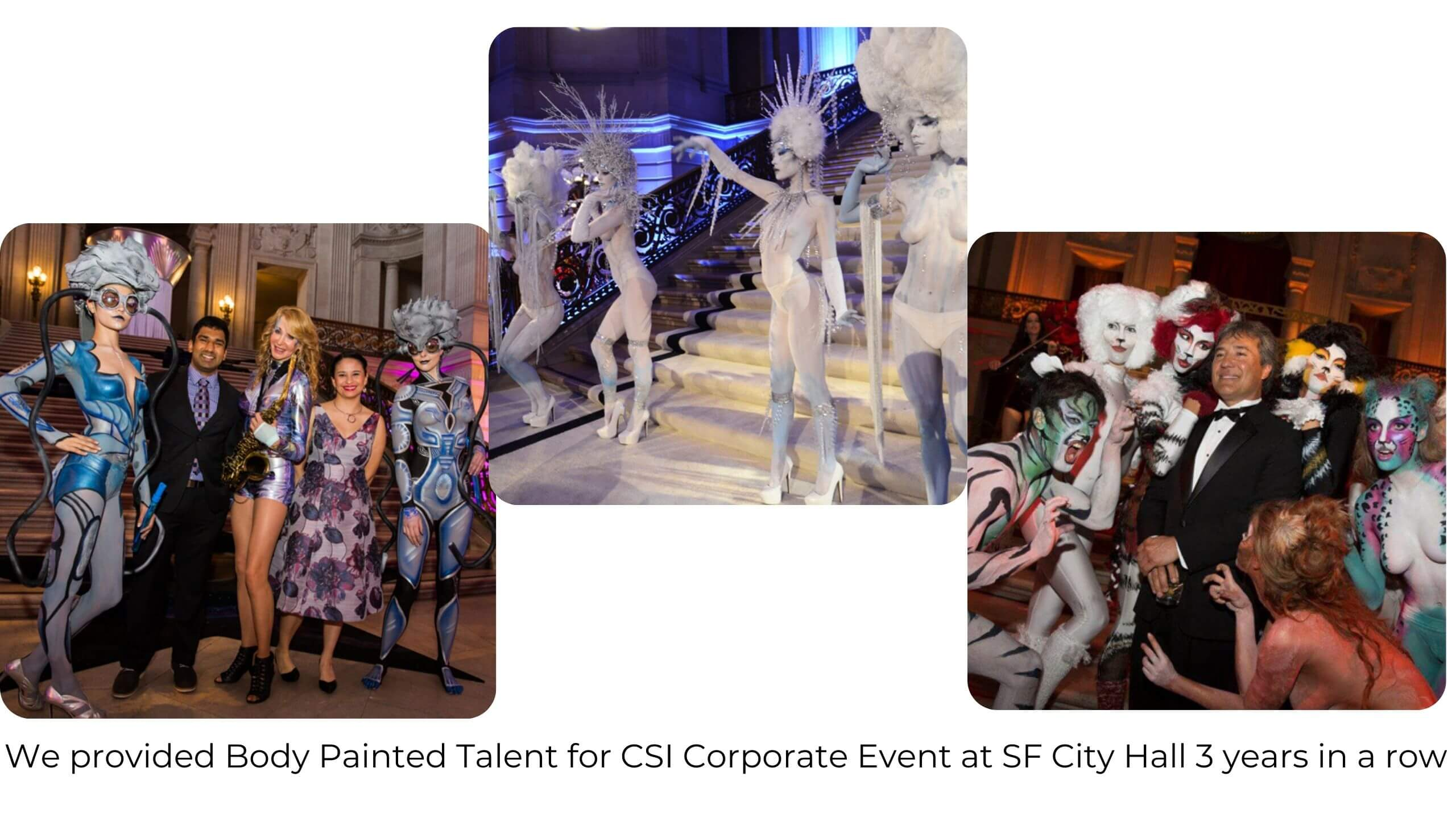 Body Painted models for Corporate Events by Catalyst Arts SF