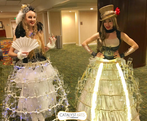Circus Champagne Skirt + Circus hospitality entertainment by Catalyst Arts