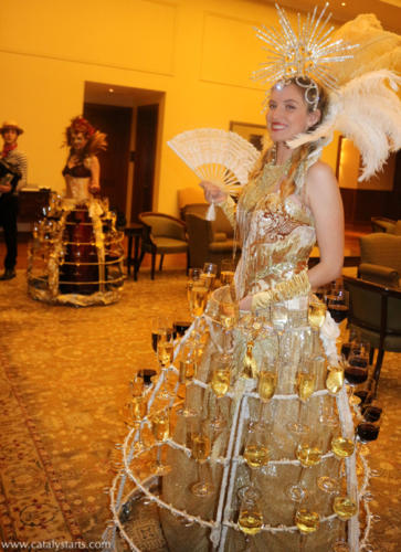 Gold Showgirl Champagne Skirt & wine dress by Catalyst Arts