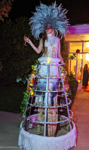 Deluxe Champagne Skirt Stilt Walker at Masquerade Ball at JCB Raymond Vineyards in Wine Country California-- Catalyst Arts concept/costume/booking