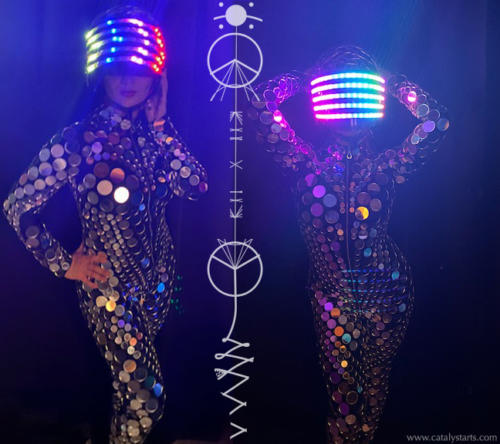 Futuristic LED Helmet Mirror Suit Dancer by Catalyst Arts