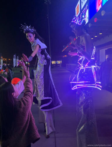 Illuminated LED Stilt Walkers by Catalyst Arts at Light the Night in San Jose