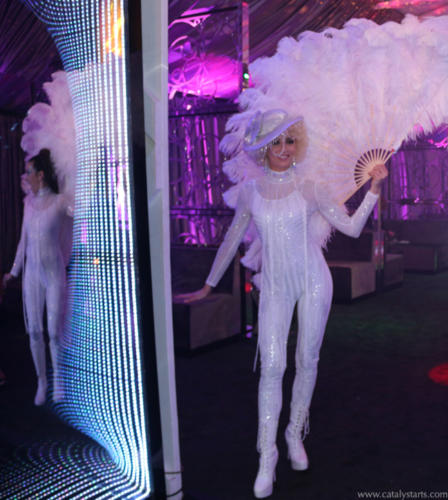 White Feather Fan Showgirl, Greeter, Dancer & Performers by Catalyst Arts Entertainment
